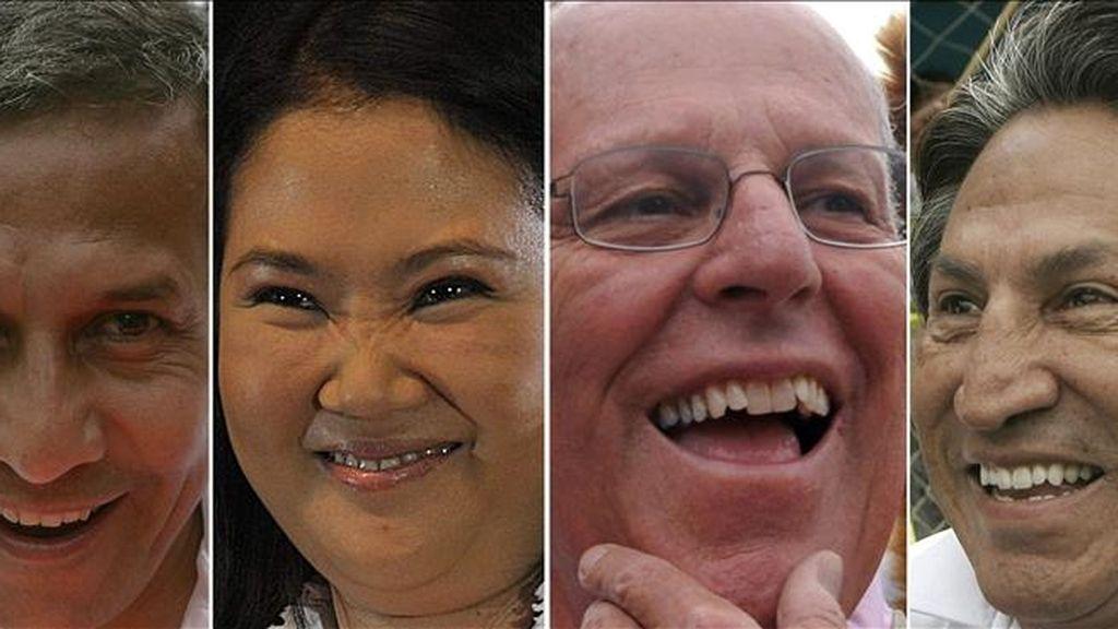 Combo de fotografías que muestra, de izquierda a derecha, a los cuatro candidatos a la presidencia de Perú con más probabilidades de pasar a la segunda vuelta, Ollanta Humala, Keiko Fujimori, Pedro Pablo Kuczynsky y Alejandro Toledo. EFE