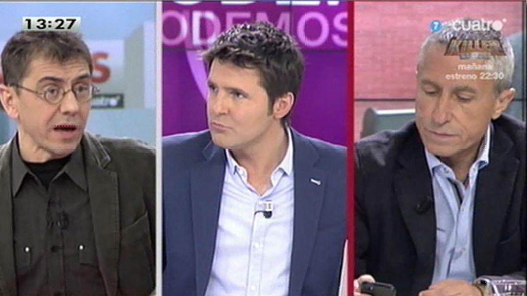 """Monedero: """"No puedo responder a nada, insulta Aguirre, insulta Melchor, es un sinvivir"""""""