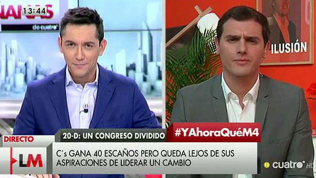 """Rivera: """"No apoyaremos un pacto en el que esté Podemos porque quiere romper España"""""""
