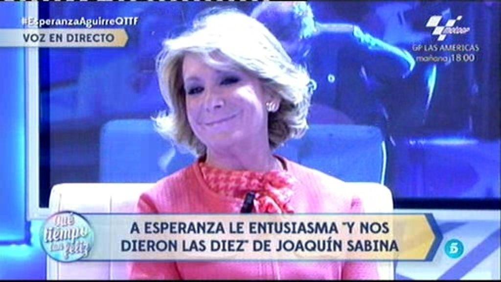 A Esperanza Aguirre le entusiasma 'Y nos dieron las diez' de Joaquín Sabina