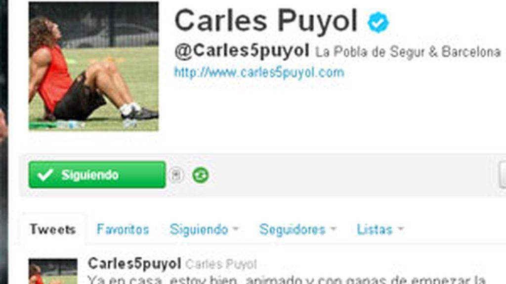 Puyol ha anunciado en su perfil de Twitter que ya está en casa. Foto: Twitter