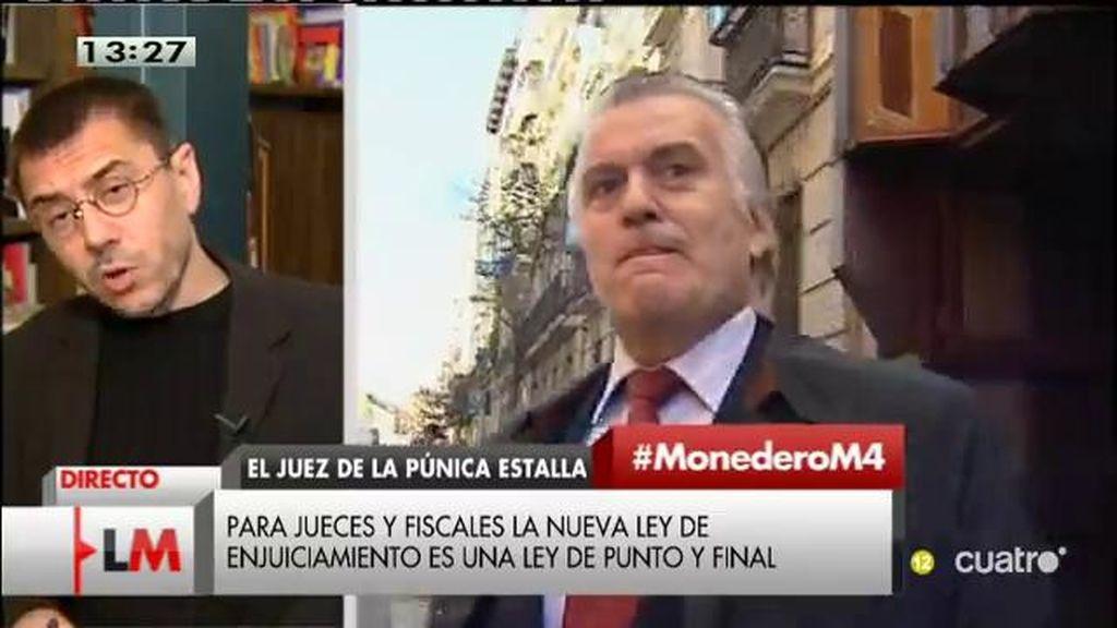 """Monedero: """"La ley de enjuiciamiento del PP es una puñalada al Estado de Derecho"""""""