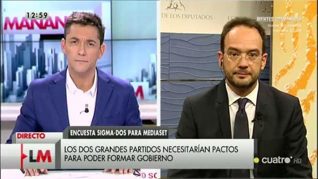 """Antonio Hernando: """"Hay una tendencia en todos los sondeos, el PP se desploma y el PSOE se está recuperando"""""""