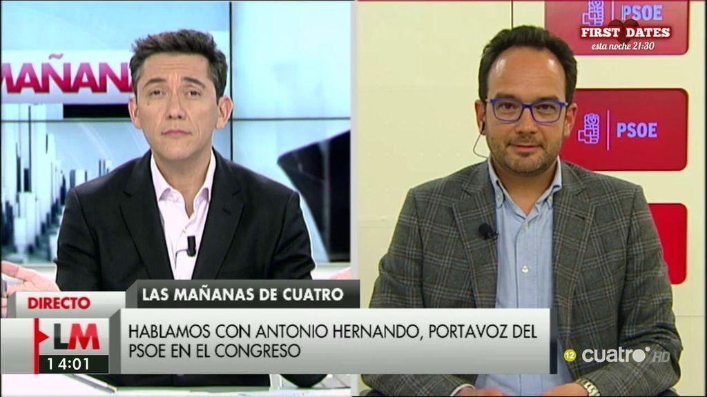 """A. Hernando: """"Lo que no quiere el 100% de los votantes de Podemos es a Rajoy al frente del Gobierno"""""""