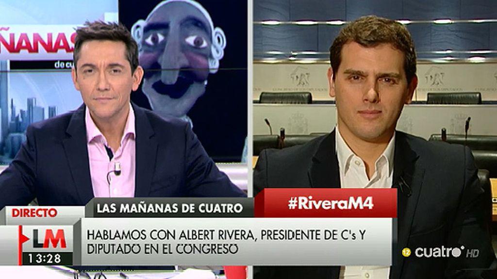 """Rivera: """"El debate es si P. Iglesias se sienta en primera fila junto a Pedro Sánchez o no"""""""