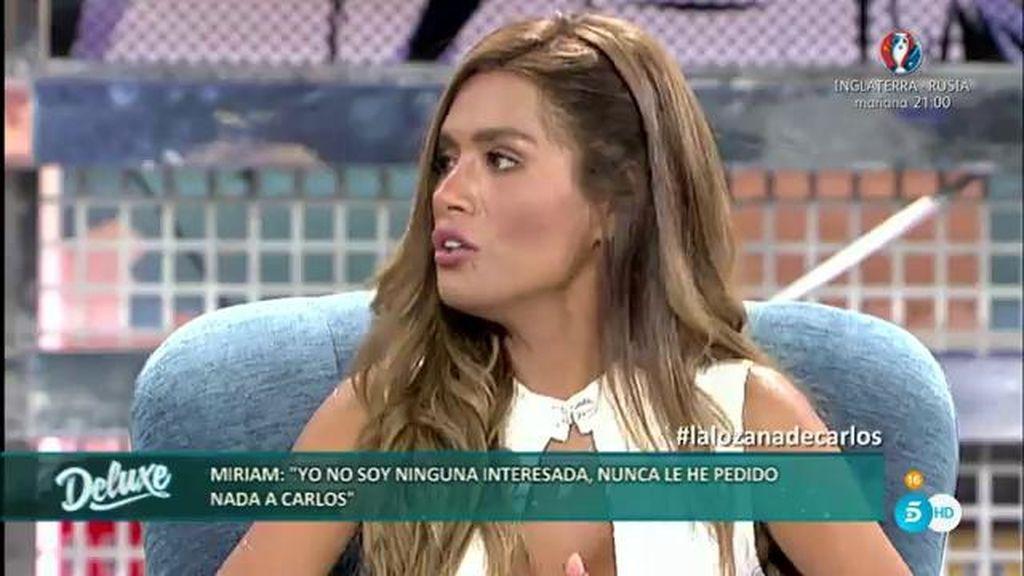 Miriam responde a las acusaciones de estar con Carlos Lozano por interés