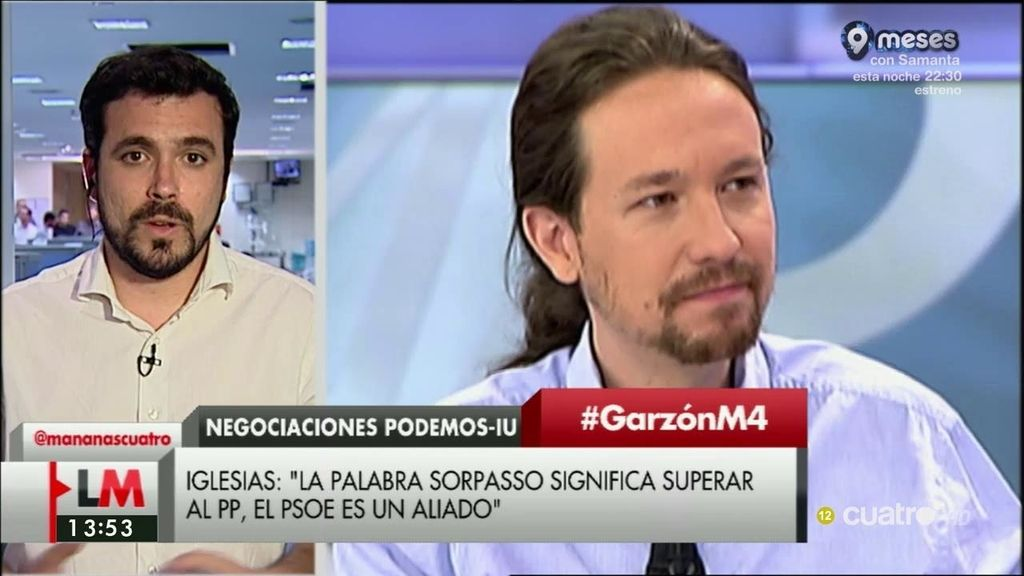 """Alberto Garzón: """"Si hay acuerdo estoy convencido, como Pablo, de que el propósito es ganar a PP y a Ciudadanos"""""""