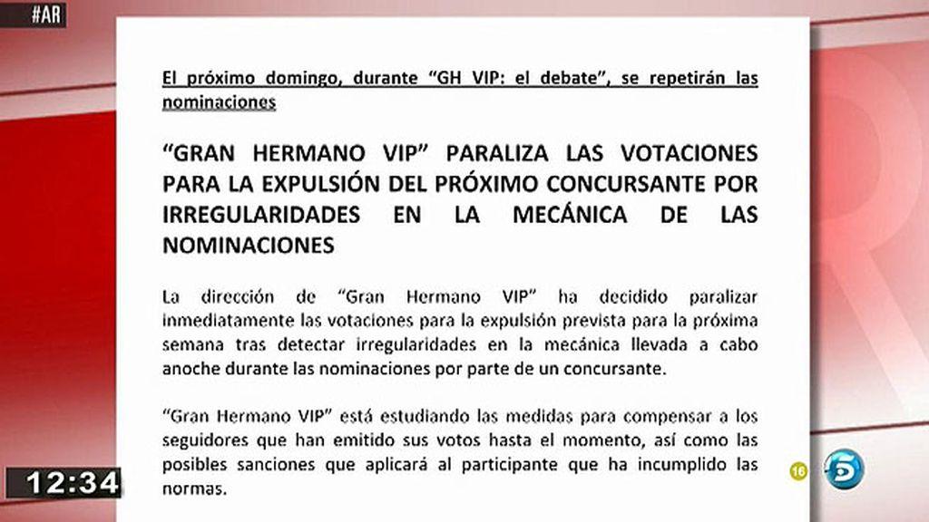 'GH VIP' paraliza las votaciones para la expulsión al deterctar irregularidades