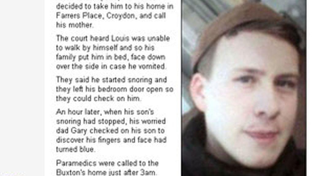 Louis ha fallecido con 17 años de edad por un coma etílico. Foto: Daily Mail