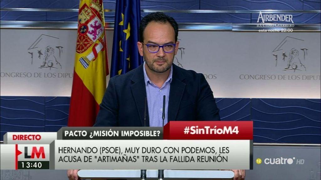 """Antonio Hernando, tras las palabras de Iglesias: """"Todo ha sido una artimaña"""""""