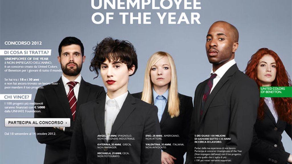 Benetton, campaña, El desempleado del año, polémica, crisis, desempleo juvenill