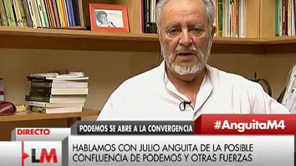 """Julio Anguita: """"No entiendo la unión IU y Podemos a palo seco, ahí falta gente"""""""