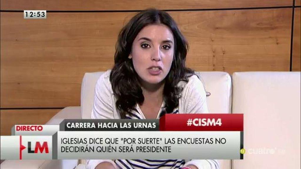 """Irene Montero: """"Tenemos posibilidades reales de ganar las elecciones"""""""
