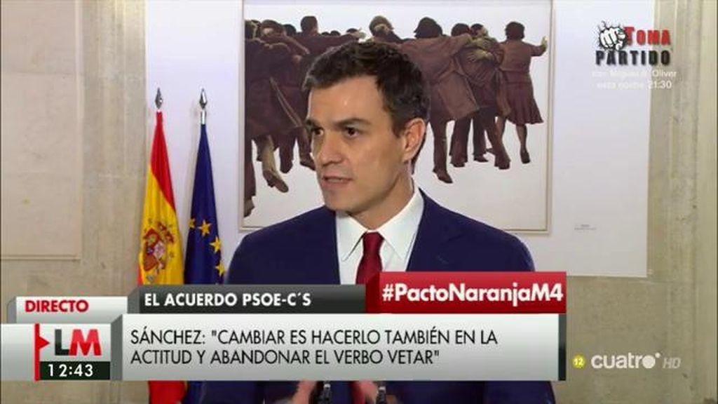 """Sánchez: """"Este acuerdo suma porque la única victoria política que hay en él es el acuerdo"""""""