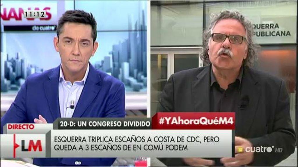 """Joan Tardá: """"Estoy convencido de que el PP va a gobernar con la abstención del PSOE"""""""