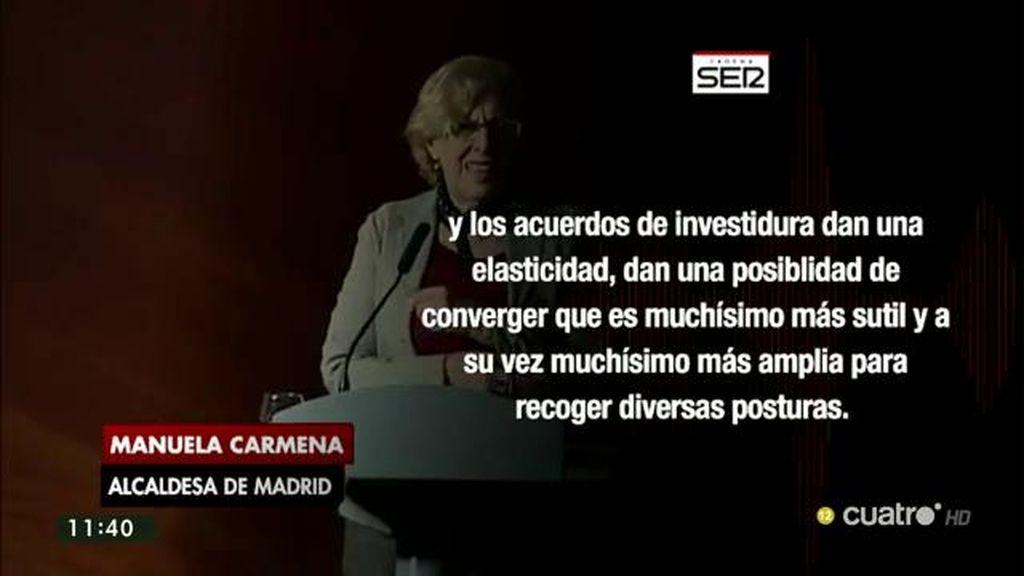 """Manuela Carmena: """"Los acuerdos de investidura dan elasticidad y una posibilidad de converger más sutil"""""""