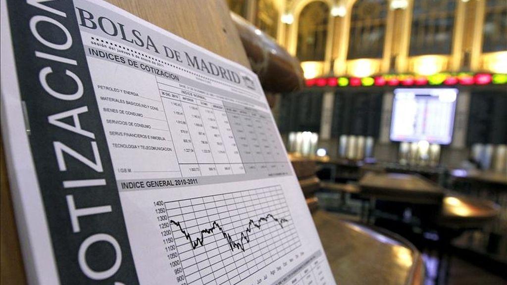 Vista de un gráfico de la Bolsa de Madrid. EFE/Archivo