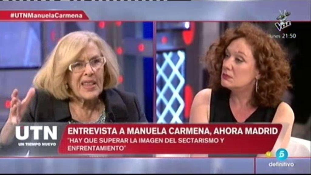 """Manuela Carmena: """"Aguirre no es una candidata adecuada para Madrid"""""""
