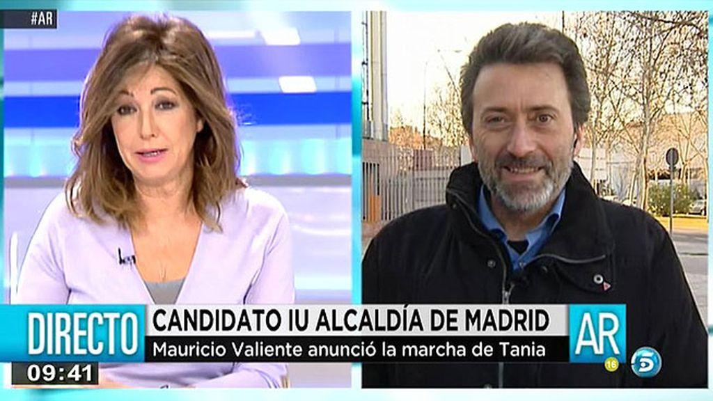 """Mauricio Valiente, sobre la marcha de Tania Sánchez: """"Tenemos un proyecto de cambio que es donde nos vamos a encontrar"""""""