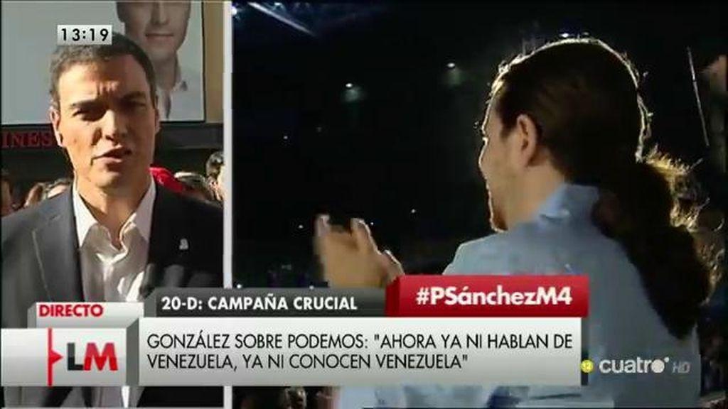 """Pedro Sánchez, sobre Iglesias: """"Me da pena que una persona de izquierdas ataque a un partido de izquierdas"""""""