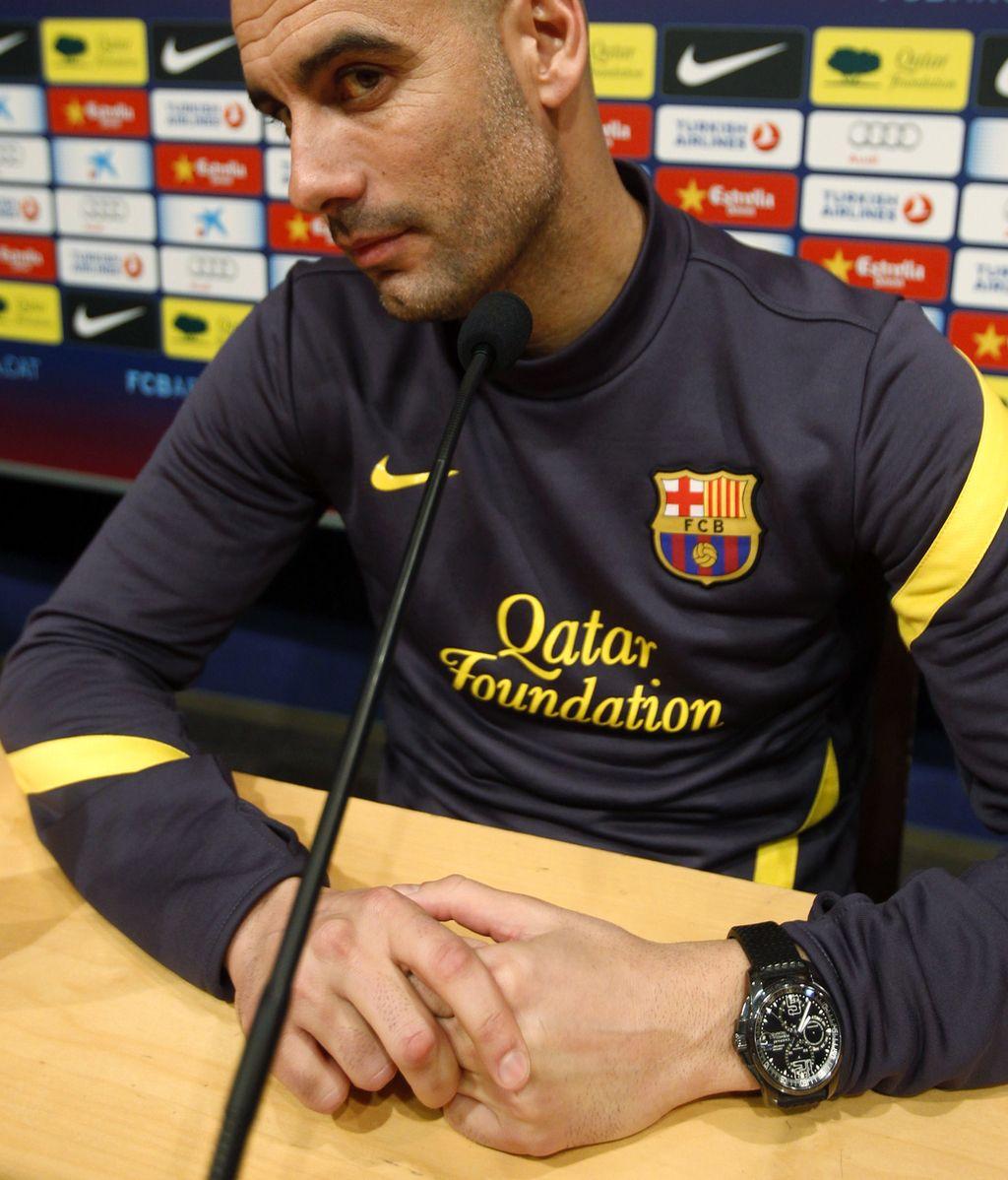 El entrenador del Barcelona, Pep Guardiola durante una rueda de prensa