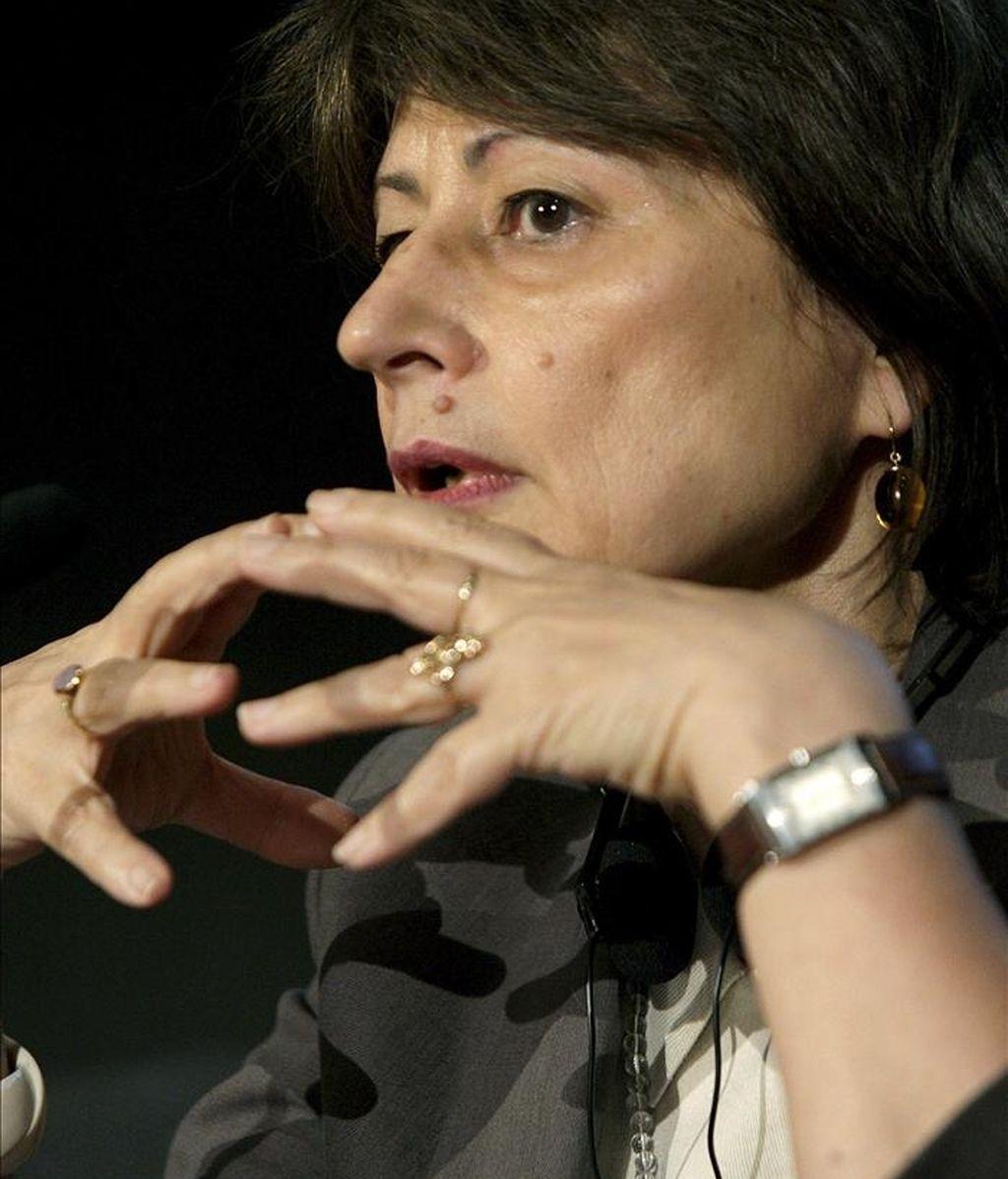 La escritora francesa Catherine Millet, autora de varios libros eróticos de gran venta, durante su participación en el Festival Internacional de las Letras de Bilbao. EFE/Alfredo Aldai