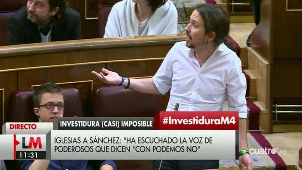 """Pablo Iglesias: """"Es patético tener que ver  cómo en una cámara de representantes se interrumpe a quien tiene la palabra"""""""