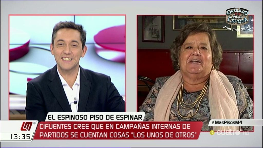"""Cristina Almeida ante las críticas de Cifuentes a Pablo Iglesias: """"Que diga eso hace que pierda puntos y le hunde en la miseria"""""""