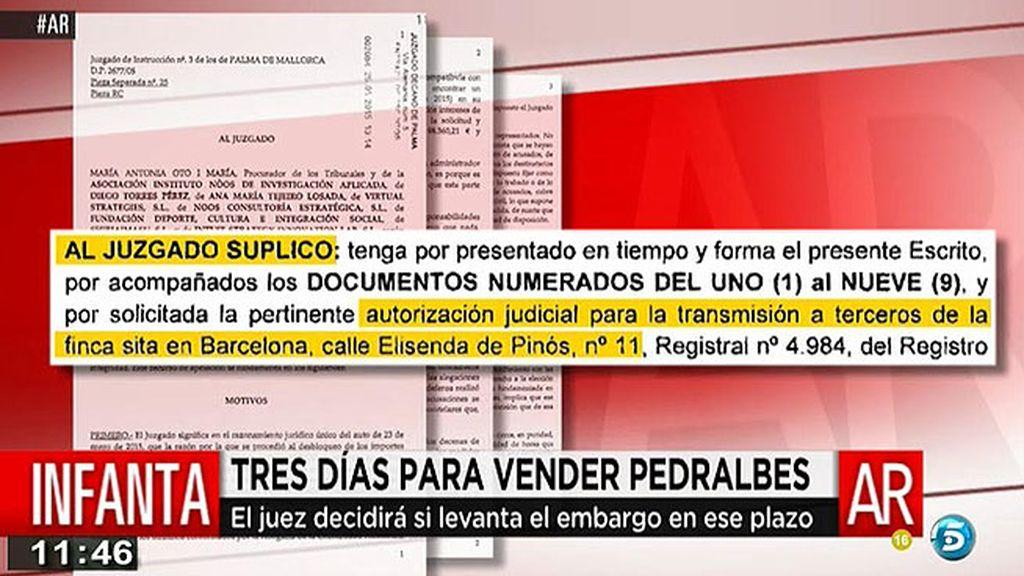 'AR' tiene acceso al escrito enviado por los duques de Palma pidiendo que les permitan la venta de Pedralbes