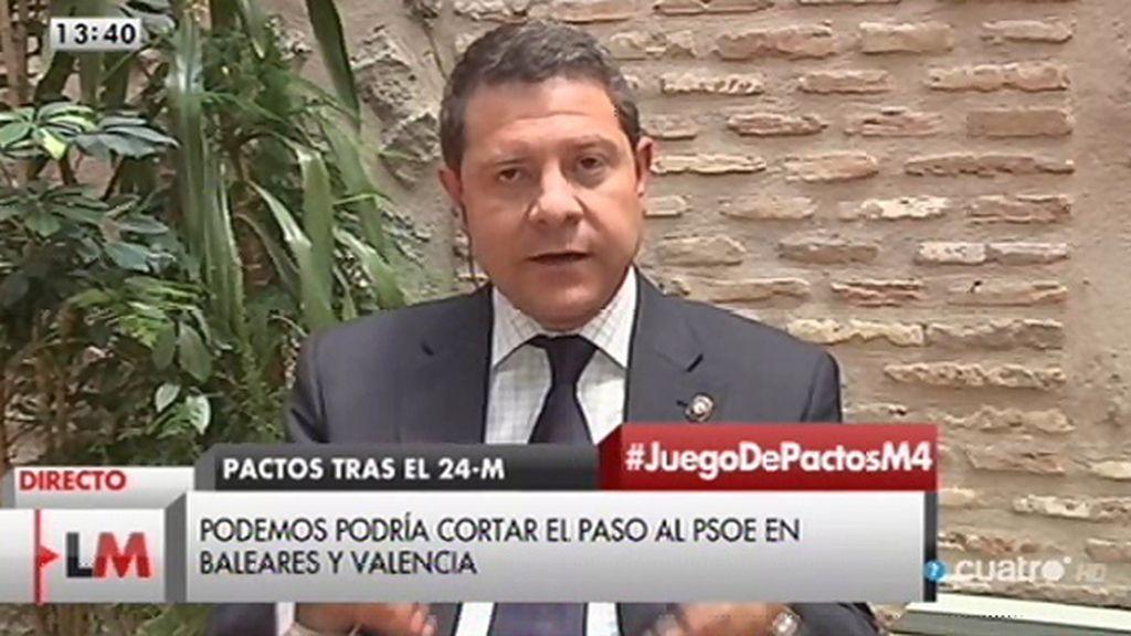 """García – Page, sobre Podemos: """"No se van a suicidar políticamente apoyando a Cospedal"""""""
