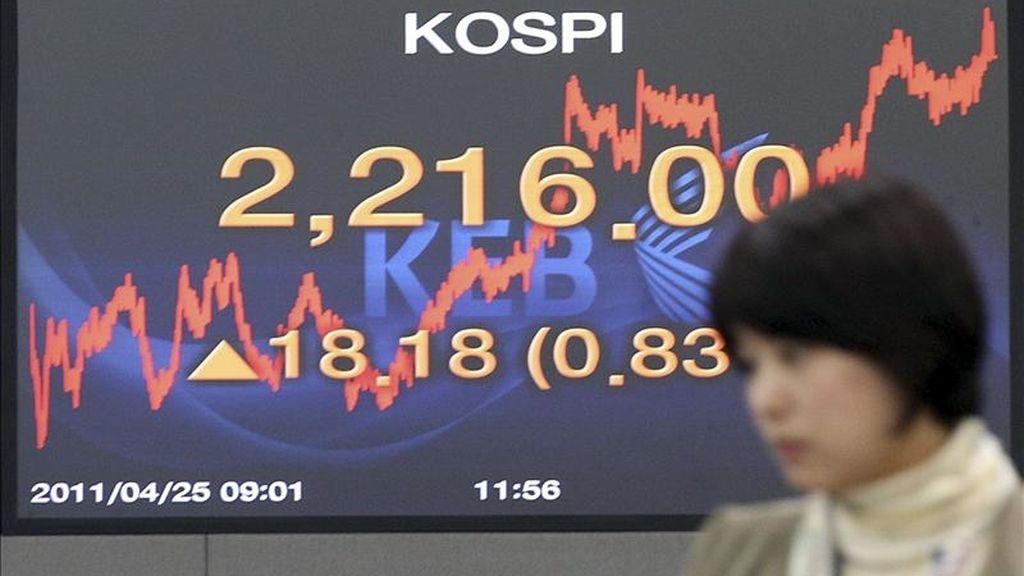 Una mujer pasa delante de una pantalla que muestra el índice Kospi de la Bolsa de Seúl. EFE/Archivo