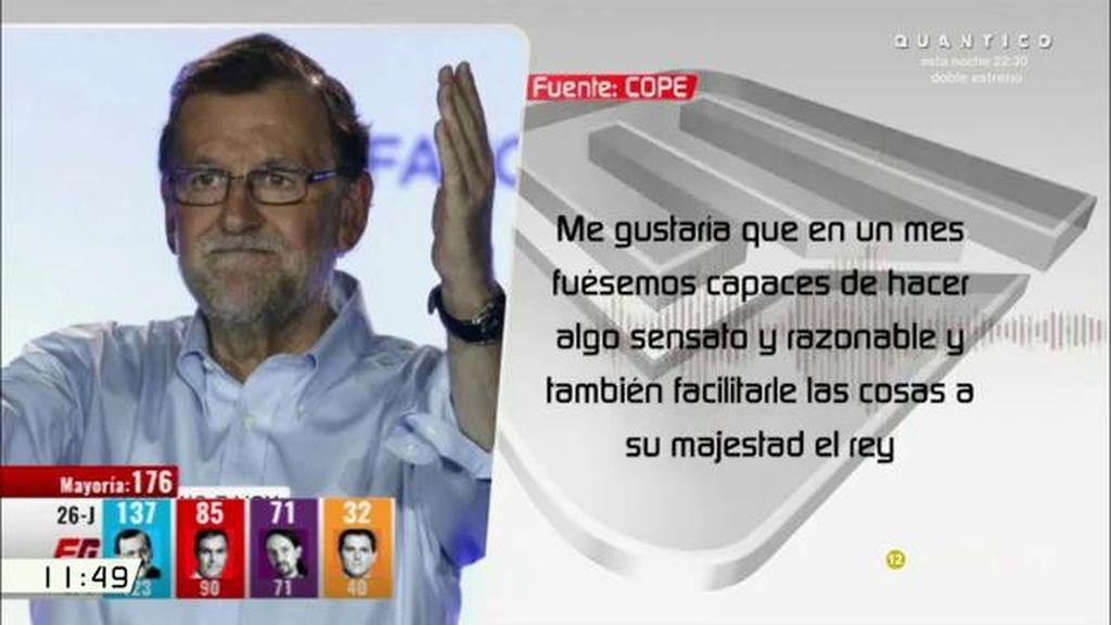 """Mariano Rajoy: """"En  un mes tendríamos que tener un acuerdo de mínimos"""""""