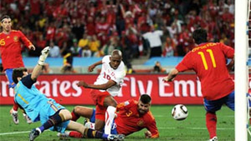 La jugada del gol de Suiza. Foto: EFE