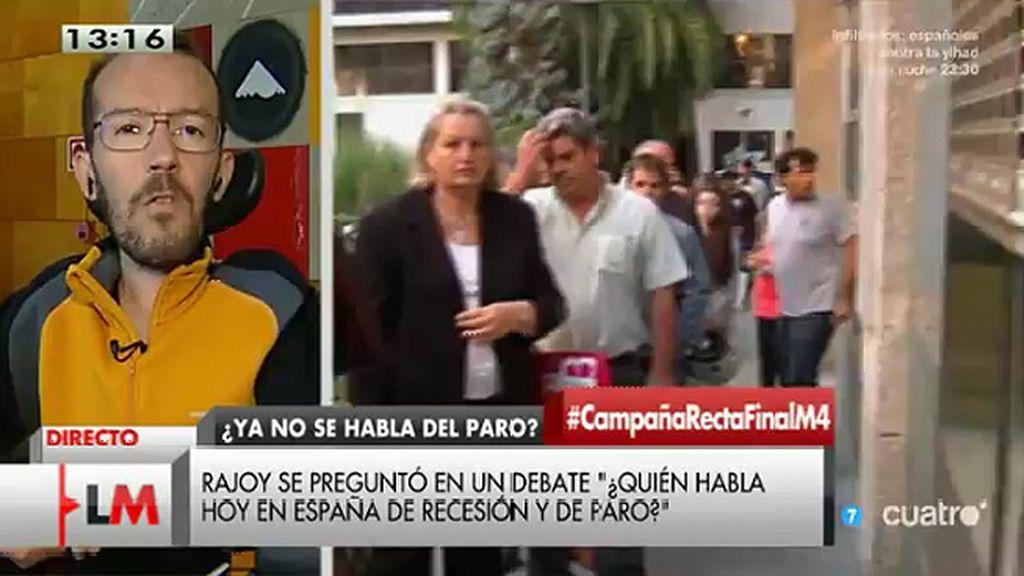 """P. Echenique, de Rajoy: """"La crisis no ha existido para la gente que no la ha sufrido"""""""