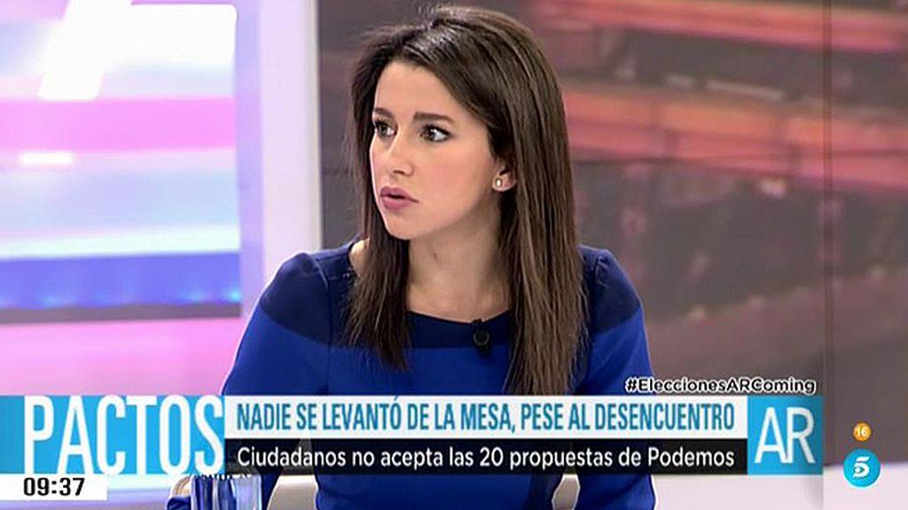 """Arrimadas: """"Si Sánchez nos pone los cuernos con los independentistas será culpa del PP"""""""