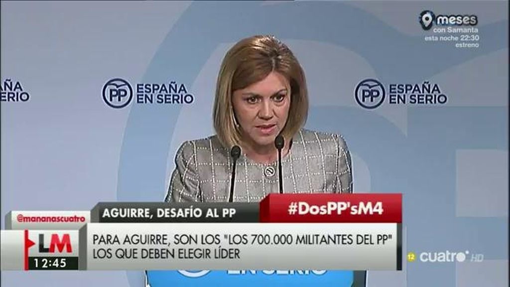 Cospedal recuerda  Aguirre que ella fue candidata sin pasar por primarias