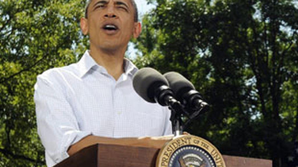 El presidente estadounindense, Barack Obama, habla durante un acto celebrado en la ciudad de Mineápolis. Foto: EFE.