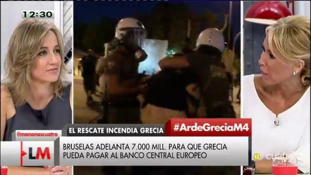 """Montse Suárez, sobre los disturbios en Grecia: """"Es vandalismo puro"""""""