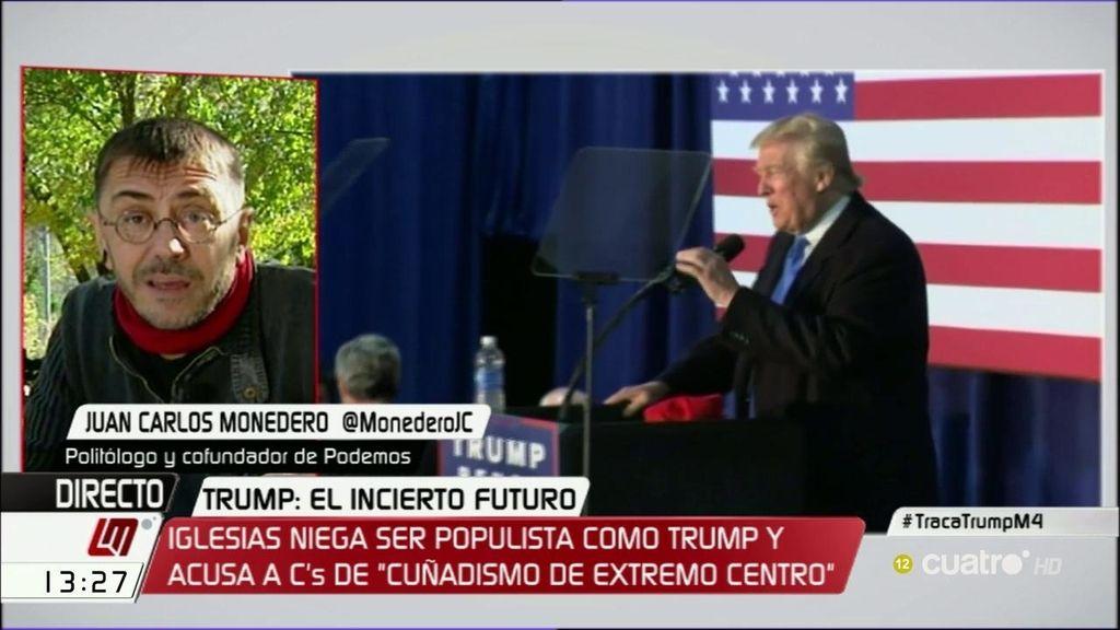 """Monedero: """"La política de Ciudadanos coincide plenamente con la de Trump"""""""