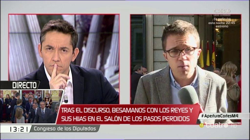 "Íñigo Errejón: ""No hace daño al país que aplaudamos o no, sino que Barberá venga al Congreso"""