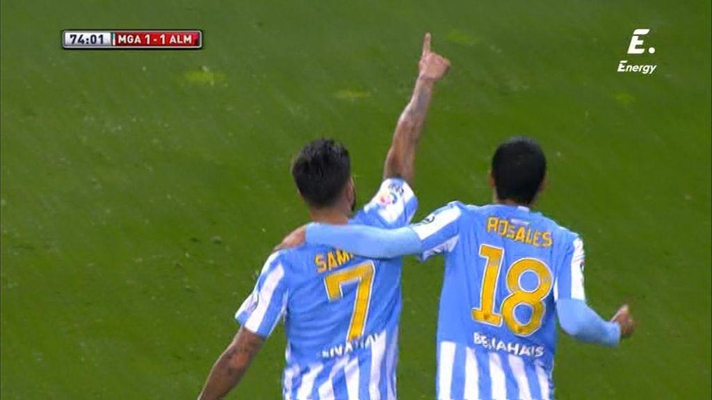 Samuel empata ante el Almería con una volea cruzada desde el punto de penalti
