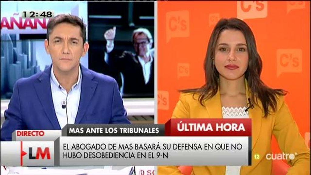 """Inés Arrimadas, sobre Artur Mas: """"En el plano político debería haber dimitido ya"""""""