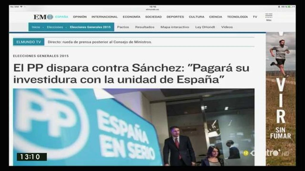 El PP dispara contra Sánchez diciendo que pagará su investidura con la unidad de España, según 'El Mundo'