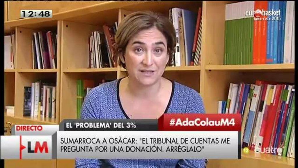 """Ada Colau: """"El PP tiene una actitud beligerante hacia el proceso del derecho a decidir en Cataluña"""""""