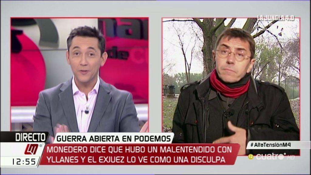 """Monedero, sobre su rifirrafe con Yllanes: """"Ha sido todo un malentendido"""""""