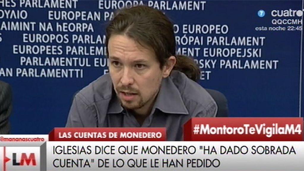"""Pablo Iglesias: """"Monedero ha dado sobrada cuenta de todo cuanto se le ha preguntado"""""""