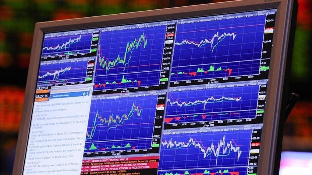 Gráficas financieras en una pantalla de ordenador en la bolsa. EFE/Archivo