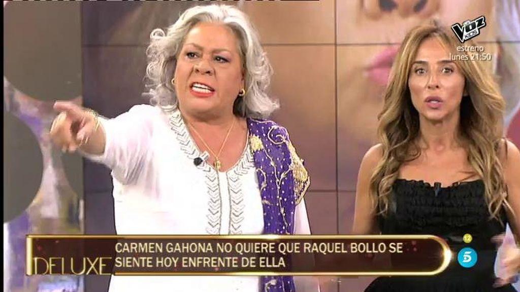 Carmen Gahona se niega a que Raquel Bollo participe en su entrevista y la echa de plató