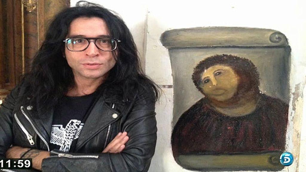 El cantante visitó Borja, pueblo donde se encuentra la pintura