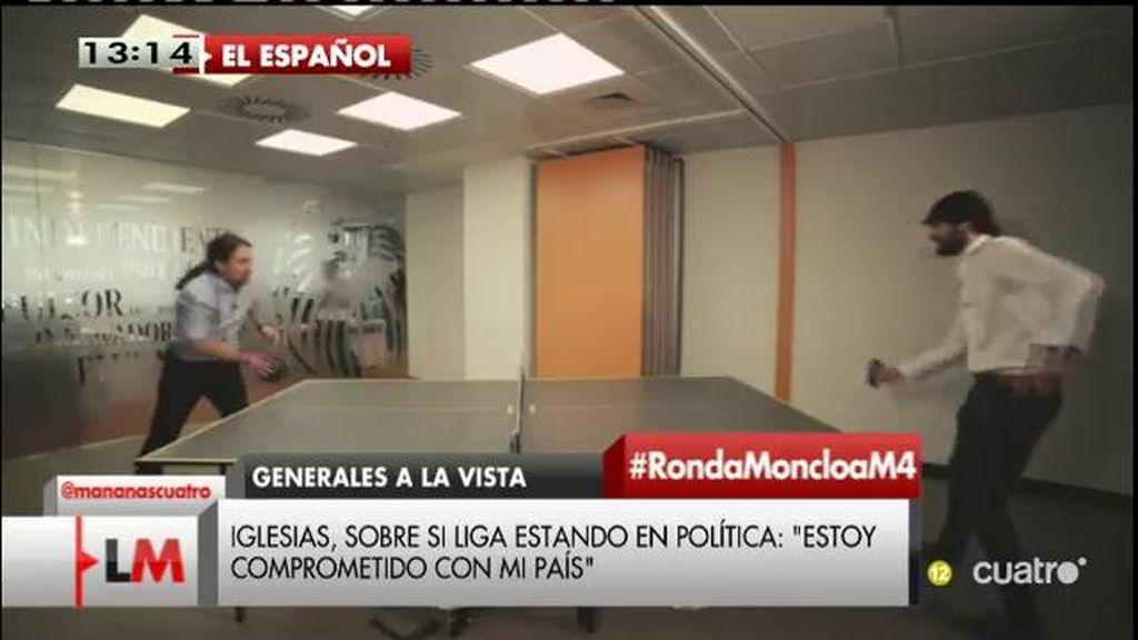 Pablo Iglesias juega un partido de Ping Pong dialéctico en 'El español'